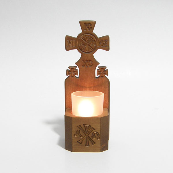 Hand Carved Wooden Vigil Light