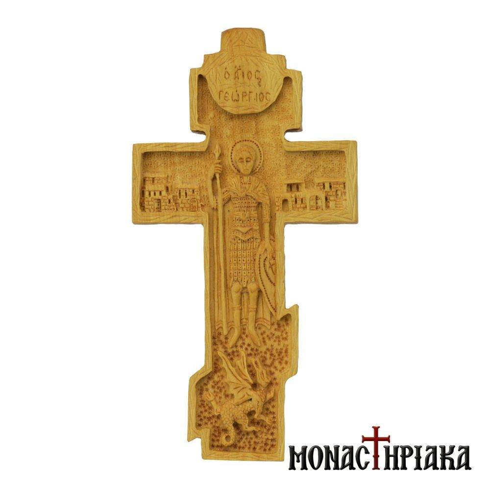 Bilateral hand carved cross with Crucified Jesus and Saint George