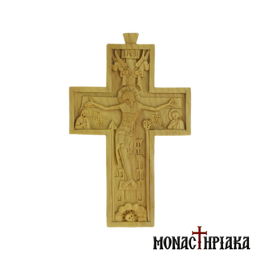 Hand carved cross on pear wood, with Crucified Jesus