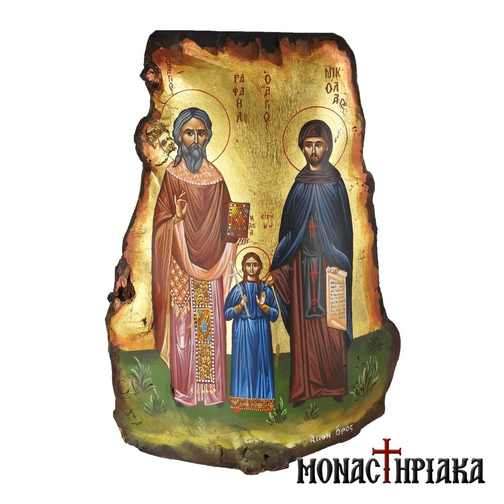 Handpainted Icon of Saints Raphael, Nicholas and Irene
