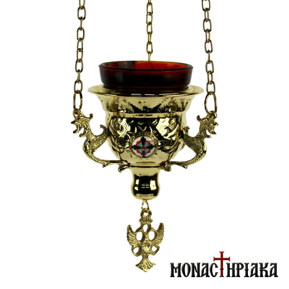 Hanging Vigil Lamp Gold Plated with Smalt