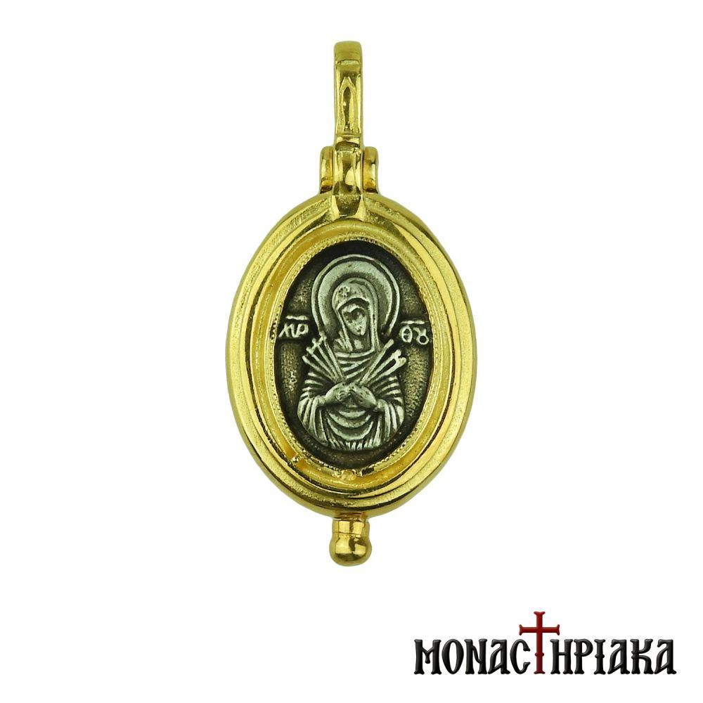 "Pendant - Silver Reliquary ""Our Lady of Sorrows with Seven Swords"""
