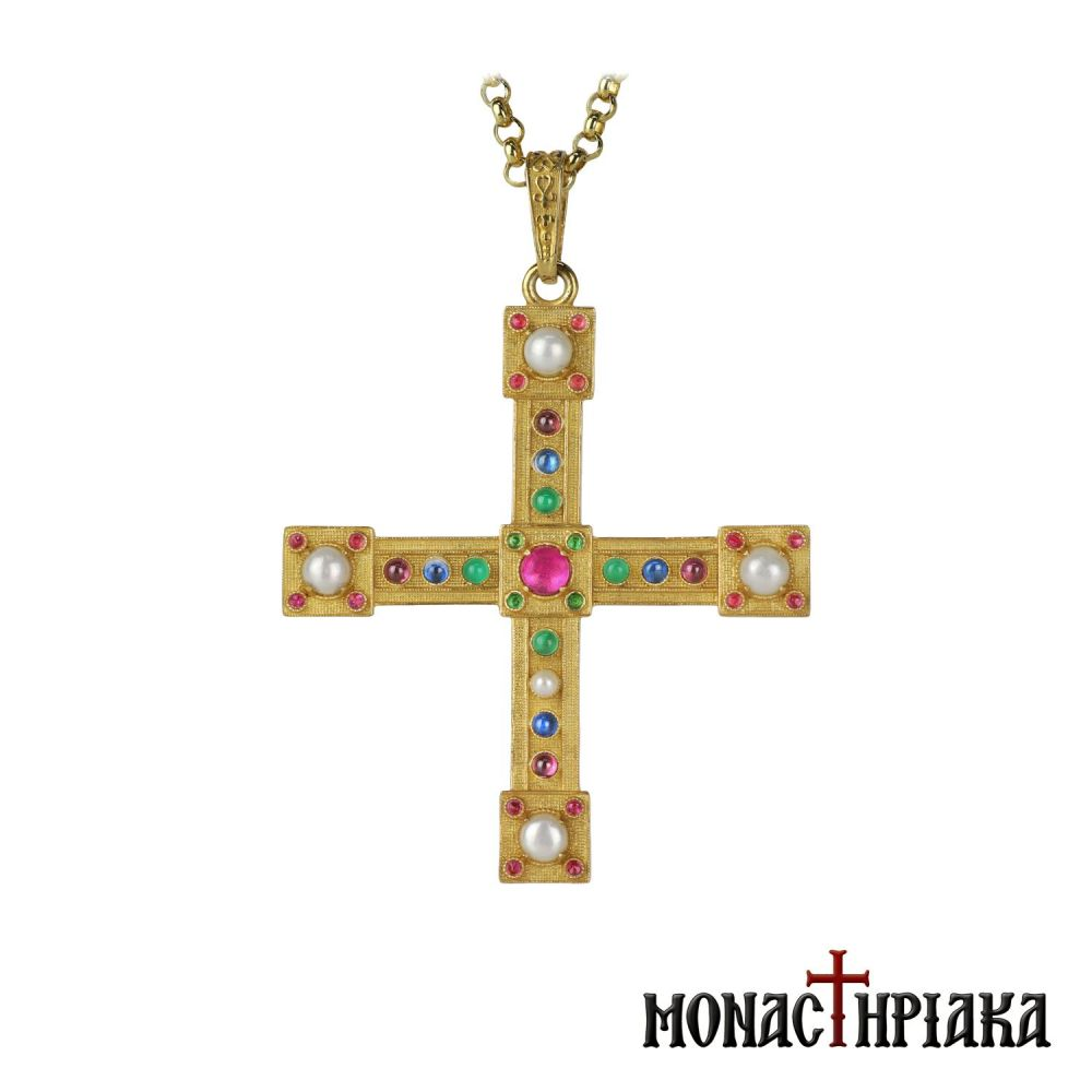 Silver Cross with Chain and Colorful Beads