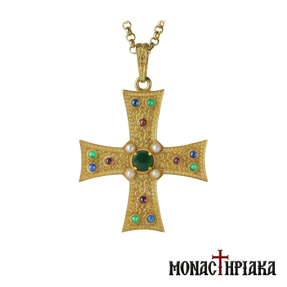 Silver Cross with Chain and Decorative Beads