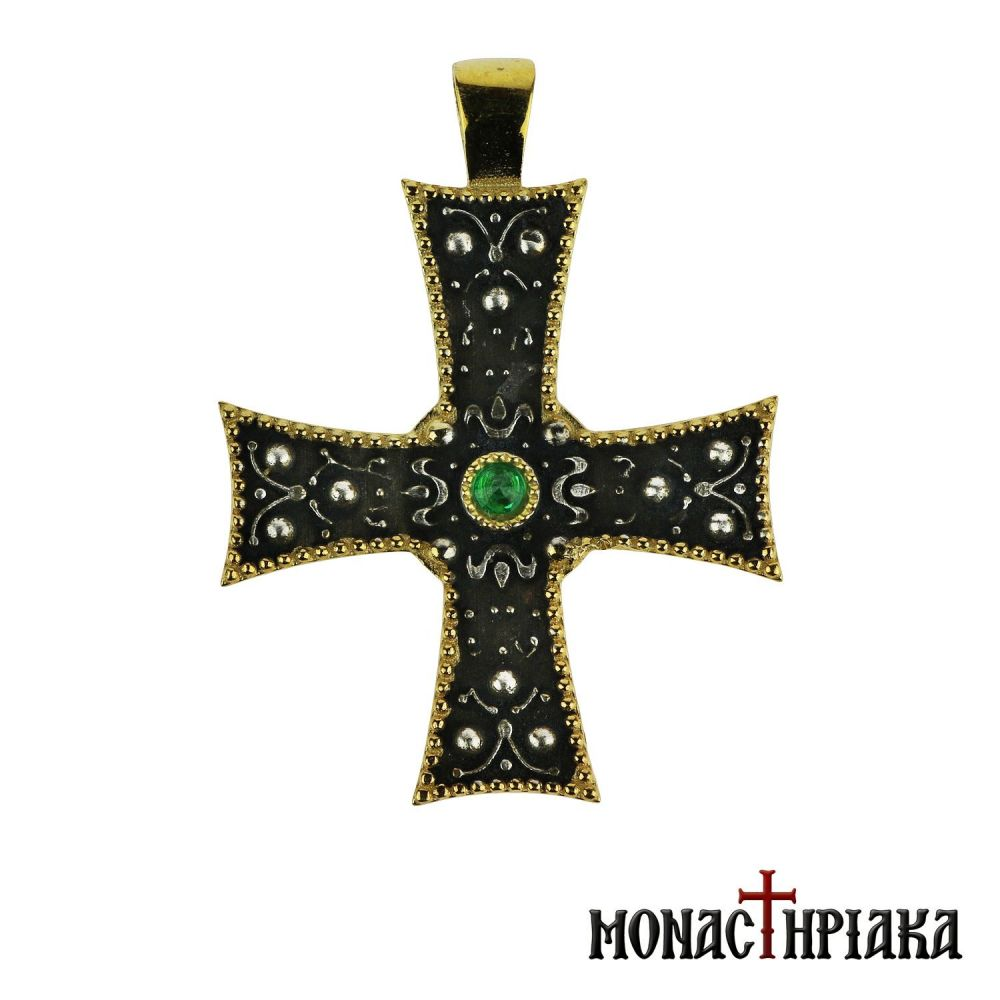 Silver Cross with Green Stone