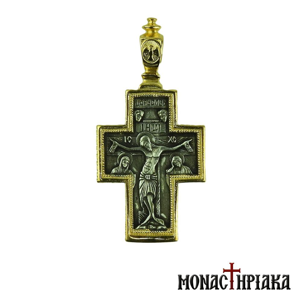 Silver Cross with Jesus and Virgin Mary