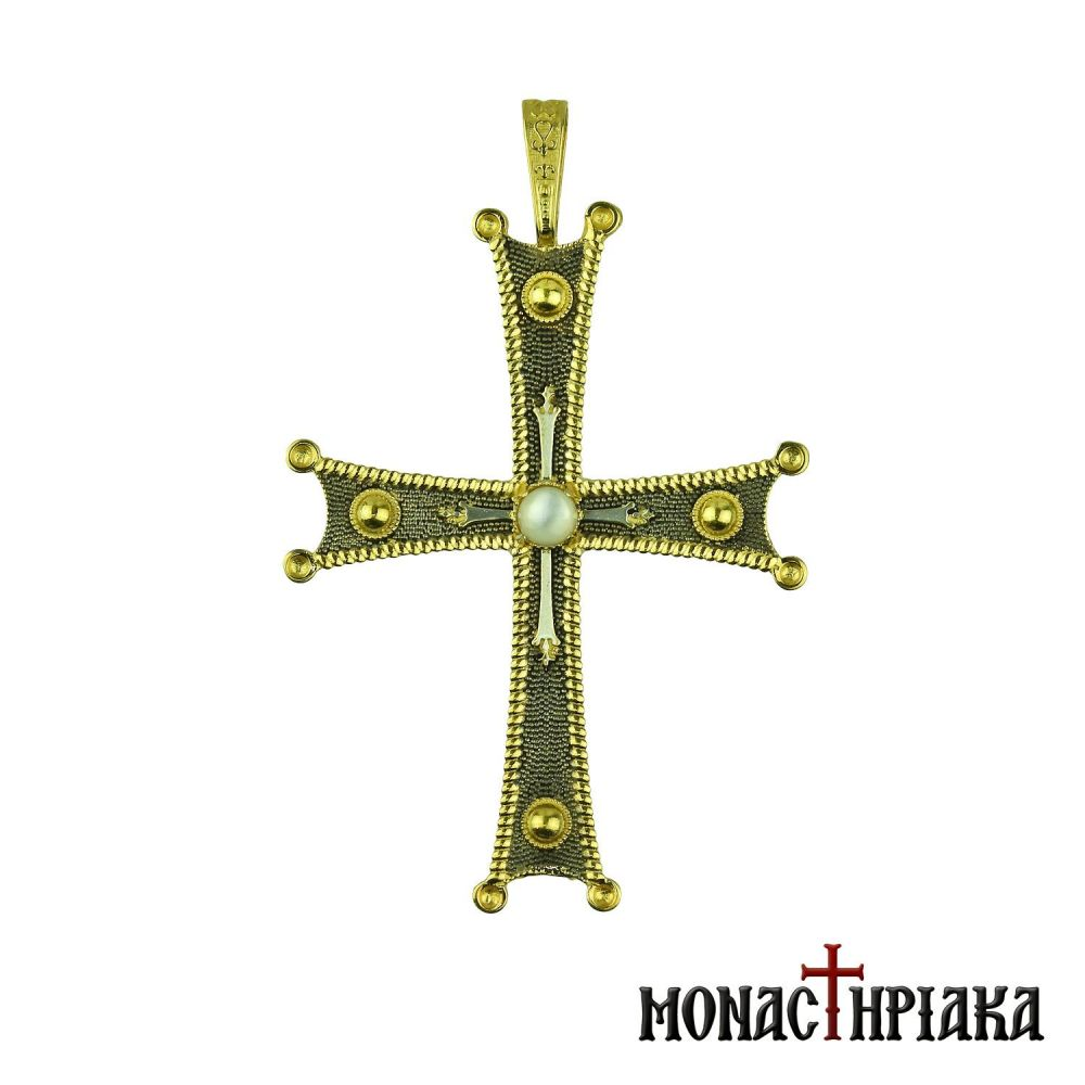 Silver Cross with White Bead