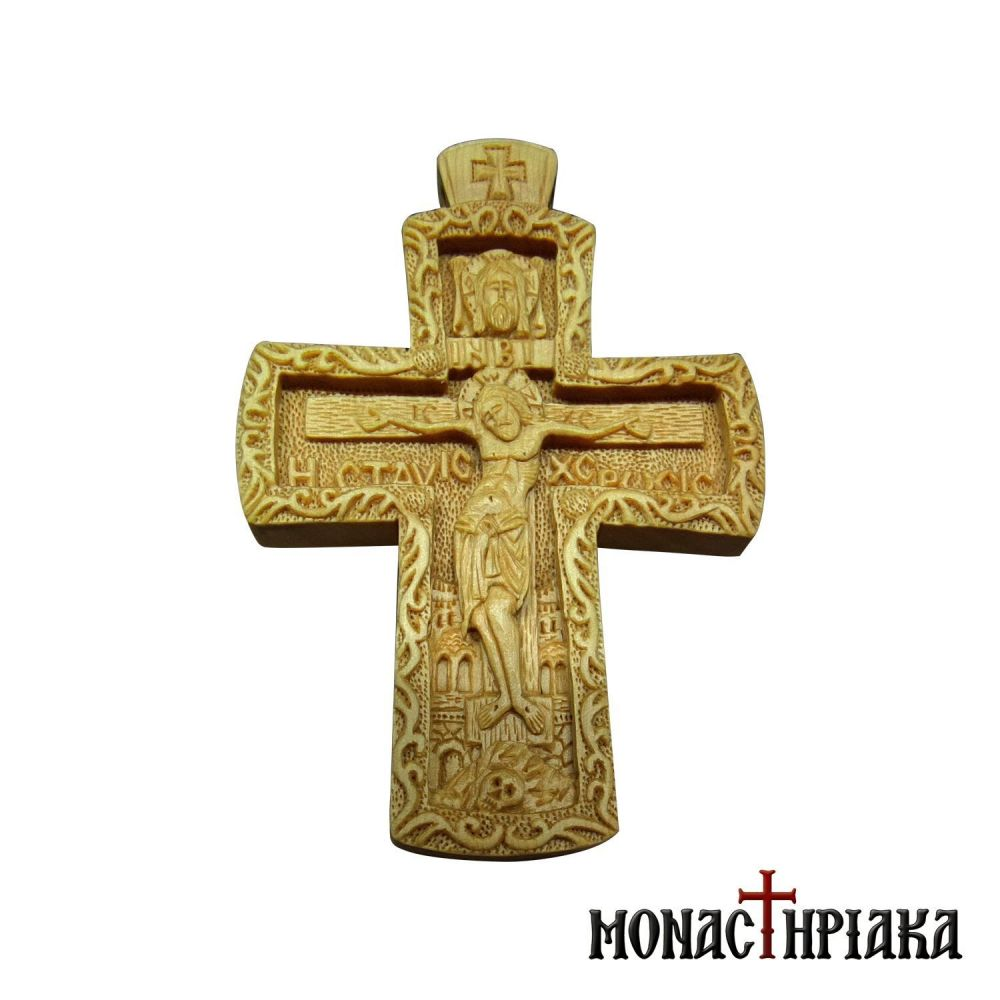 "Wood Carved Cross ""Crucifixion"""