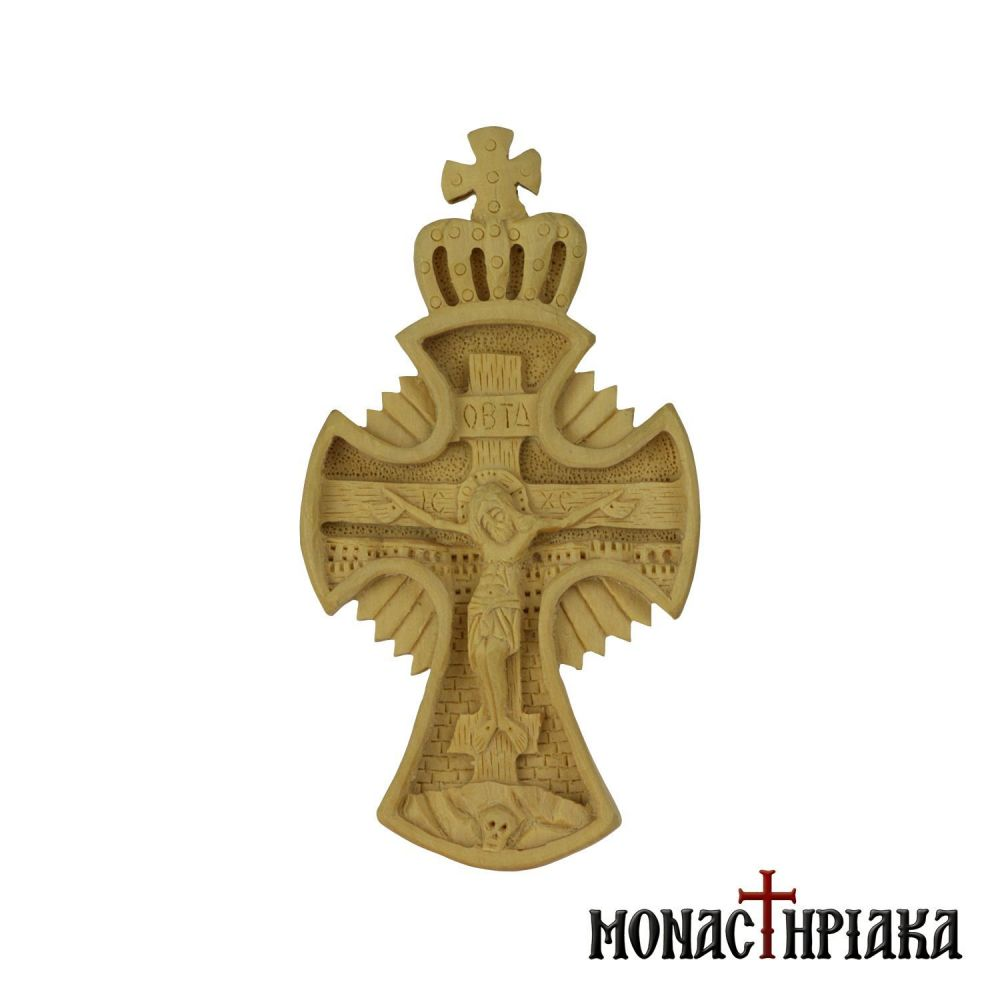 Wood Carved Cross with a Crown