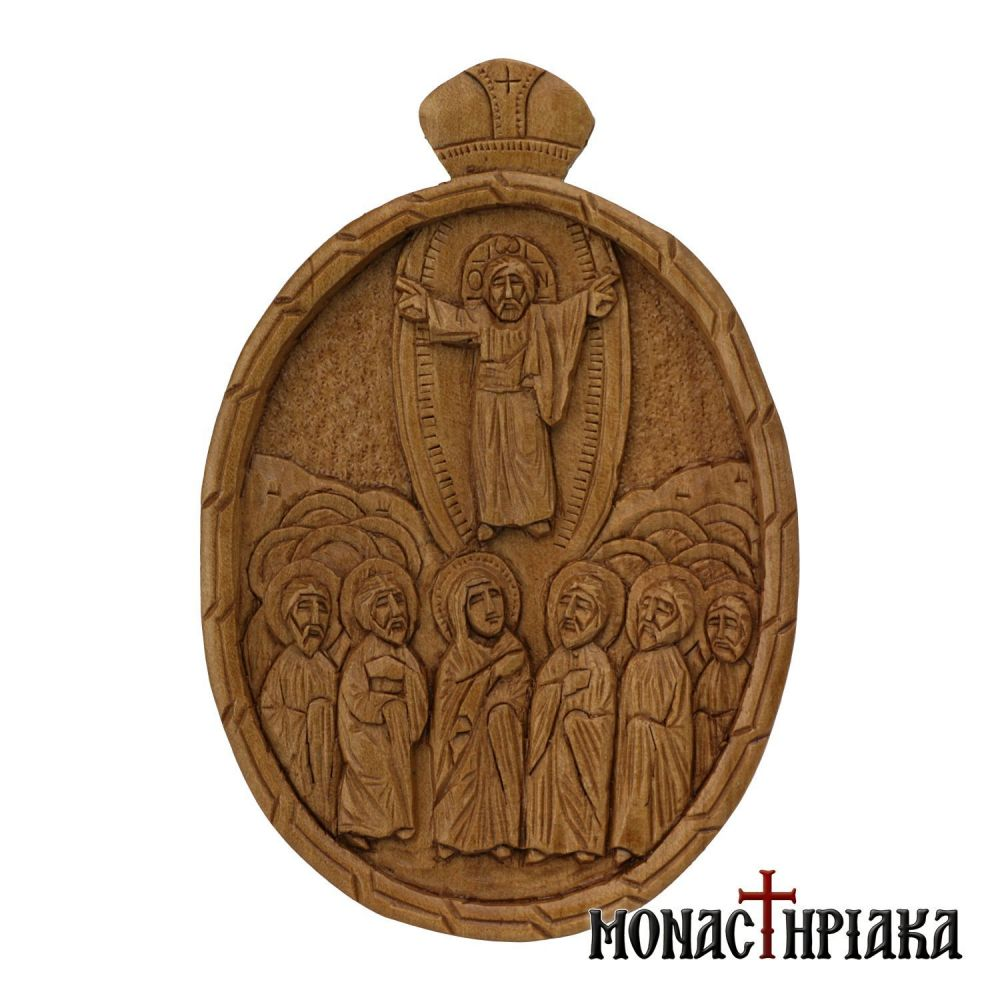 Wood Carved Encolpion Depicting the Ascension of our Lord Jesus Christ