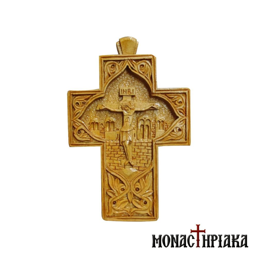 Wood carved pectoral cross sculptured on boxwood