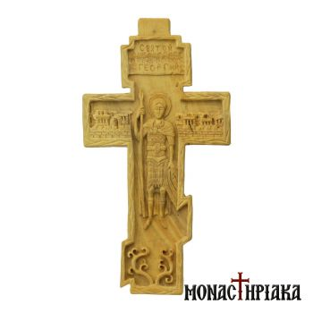Bilateral Wood Carved Cross with Crucified Jesus and Saint George