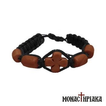 Black Bracelet with Wooden Cross