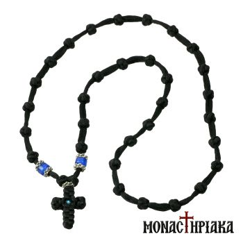 Black Prayer Rope Necklace with 33 Knots
