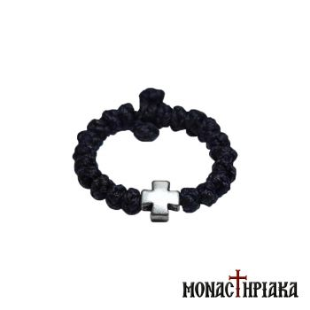 Black Waxy Prayer Rope with Cross for the Finger
