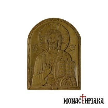 Hand Carved Wooden Icon Christ Blessing