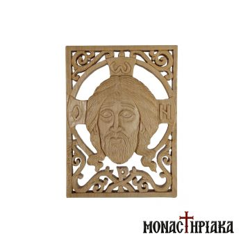 Hand Carved Wooden Icon with Jesus Christ