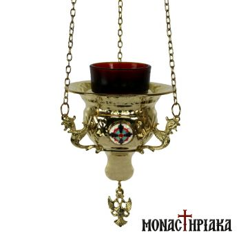 Hanging Vigil Lamp Gold Plated with Decoration