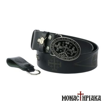 Leather Belt - Cross of Calvary (Silver - Black) (Holy cell of St. Nicholas)
