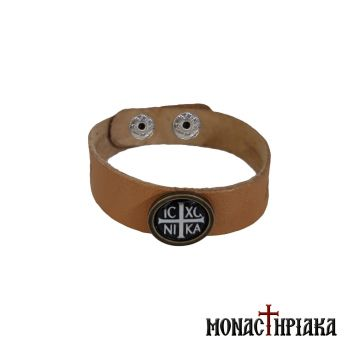Leather Wristband with Cross