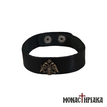 Leather Wristband with Double-headed Eagle