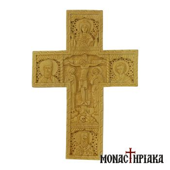 Multi-personal cross with the Transfiguration - Theotokos - St Ephraim - Ioannes the Russian -Nectarios