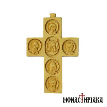 Multi-portrait Wood Carved Cross