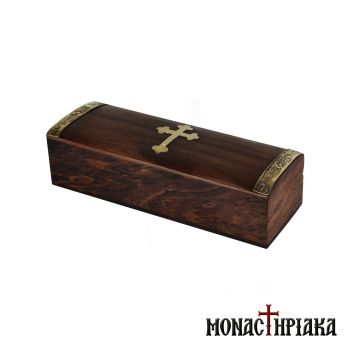 Oblong Wooden Box with Brass Cross