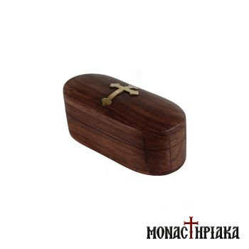 Oval Wooden Box with Brass Cross
