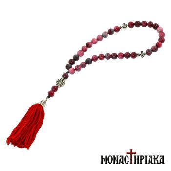 Prayer Rope with 33 Purple Agate Beads