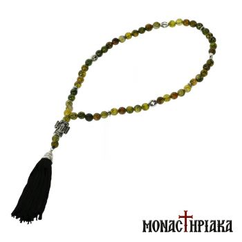 Prayer Rope with 50 Green Agate Beads