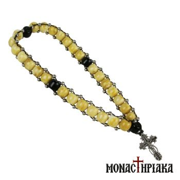 Prayer Rope with Beige-Black Beads