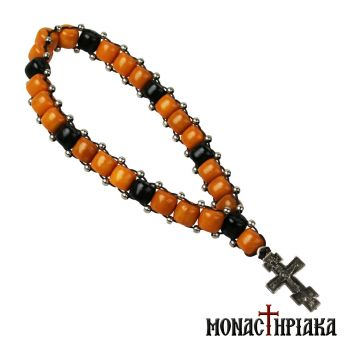 Prayer Rope with Black-Orange Beads