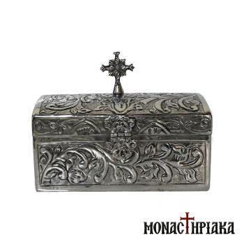 Reliquary in Silver Color with Engraved Decoration