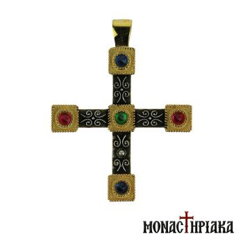 Silver Cross with 5 Colorful Stones