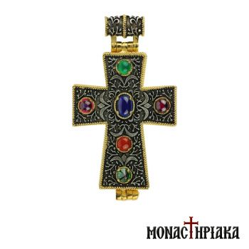 Silver Cross with 6 Colorful Stones