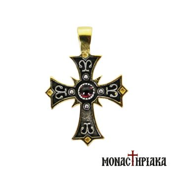 Silver Cross with Red Stone