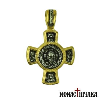 Silver Cross with the Holy Mandylio and Theotokos Glykofilousa