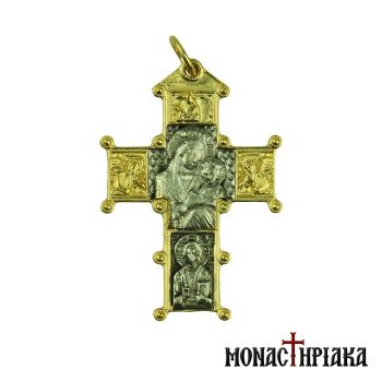Silver Cross with Virgin Mary, Jesus and Angels