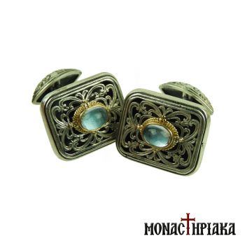 Silver Cufflinks with Aquamarine