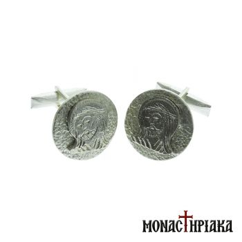 Silver Cufflinks with Jesus Christ
