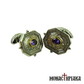 Silver Cufflinks with Zircon