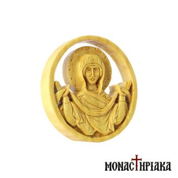 "Small Wood Carved Encolpion with Virgin Mary ""Holy Belt"""