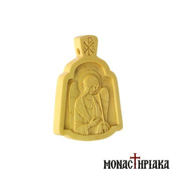 Small wood carved engolpion (panagia) with Archangel Michael
