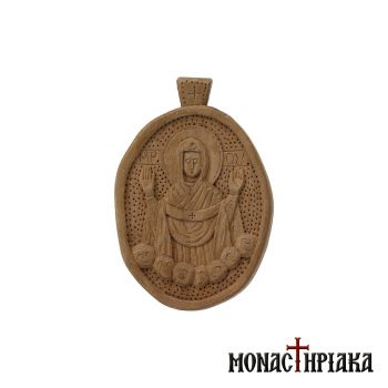 "Small wood carved engolpion (panagia) with our ""Lady of the Sign"""