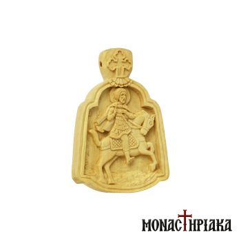 Small wood carved engolpion (panagia) with Saint Minas