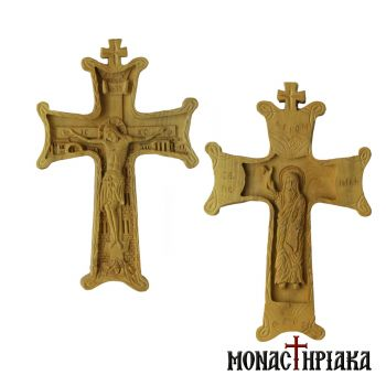 Two-sided Hand Carved Wooden Cross with the Crucifixion and Prophet Elias