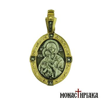Virgin Mary Glikofilousa Silver Pendant