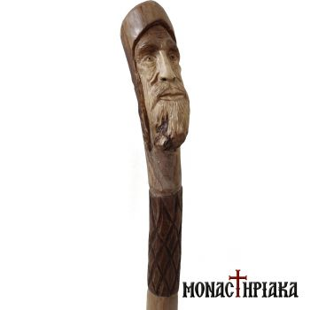 Walking Stick with Bending Grip Face of a Monk