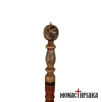 Walking Stick with Carved Decoration the Globe